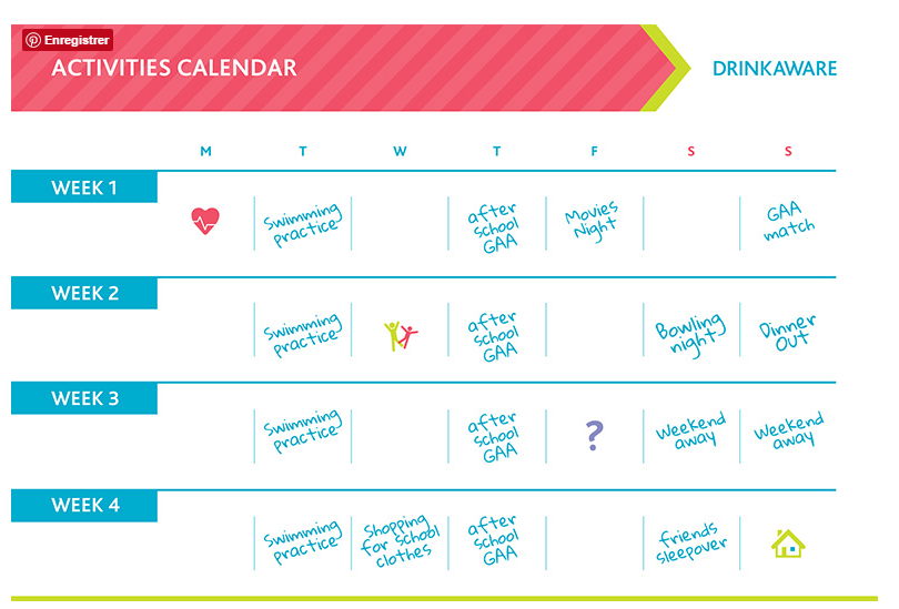 Activities calendar Drinkaware