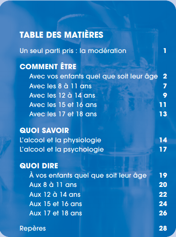 Table des matières guide parents Educ'alcool
